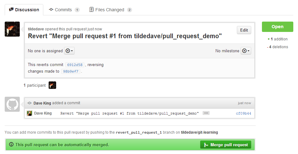 Pull Request for the Revert